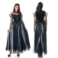 High Quality Scary Costume Ghost Bride Halloween Costume Sexy Lace Women Soft Dress Vampire Witch Cosplay Carnival Costume