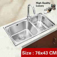 Free shipping Apartmen high quality wash vegetables high volume kitchen double groove sink luxury 304 stainless steel 76x43 CM