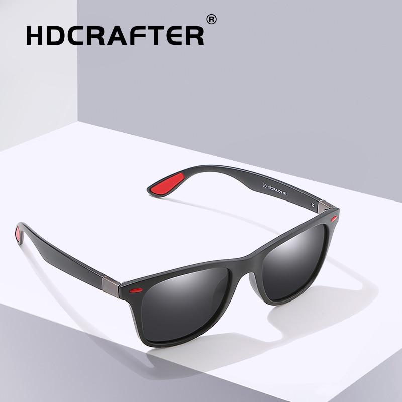 d8cf8c8a78 HDCRAFTER Square Sunglasses Men Polarized TR90 Frame Retro Driving Sun  Glasses For Male Classic Brand Design