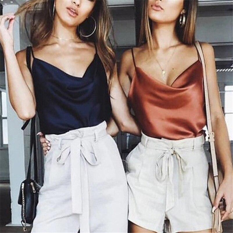 Camisola sin mangas de gasa sin mangas de verano 2019 para mujer con tiras sexis de satén para mujer