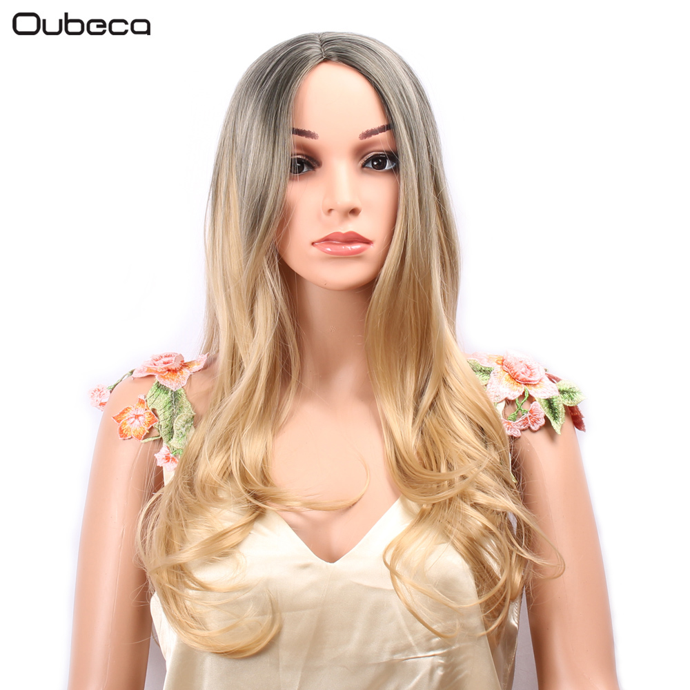 OUBECA Long Wavy Ombre Ash Blonde Wig For Women High Density Temperature Synthetic Glueless Cosplay Party Wigs ...