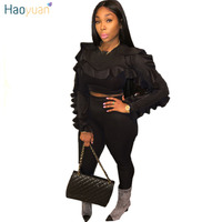 HAOYUAN Plus Size Two Piece Sets Women Tracksuit Sexy Ruffle Long Sleeve Tops+Bodycon Pants Suit Casual Outfits Matching Sets