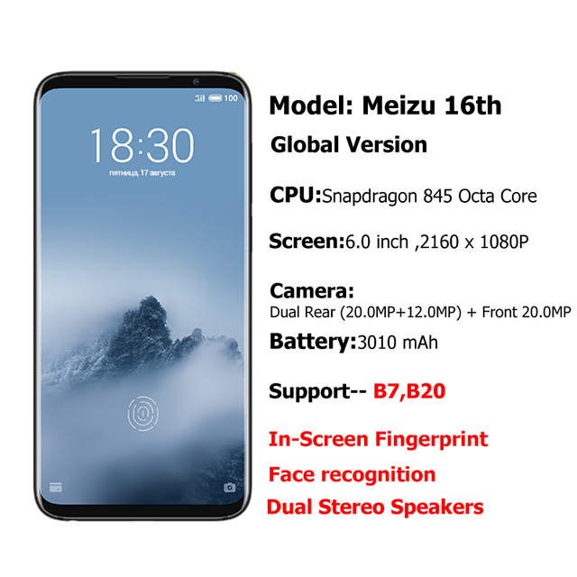Meizu 16th 6GB 64GB Global Version Mobile Phone Snapdragon 845 Octa Core 16 th Smartphone In-Screen Fingerprint
