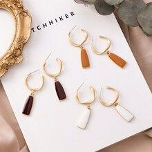 XZP 2019 Handmade Matte Metal Gold Enamel Geometric Twist Wave Line Big Oval Hoop Earrings For Women Girl Party Gift Jewelry
