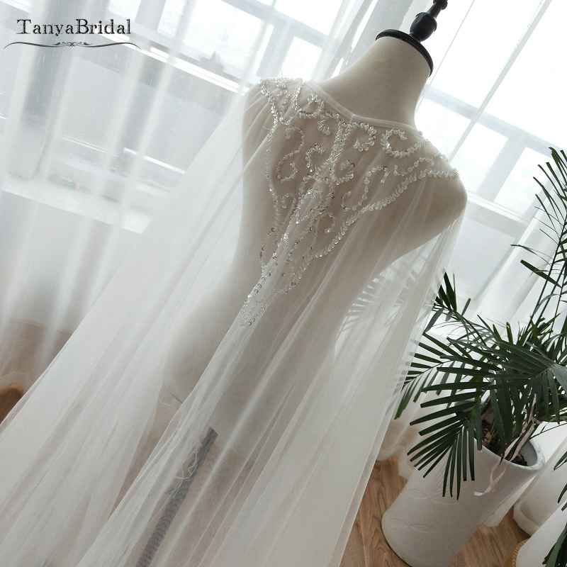 Two Layers Tulle Cape Beaded Tulle Fairy Wedding Shawls Elegant Women Formal Wrap Wedding Noivas Accessories