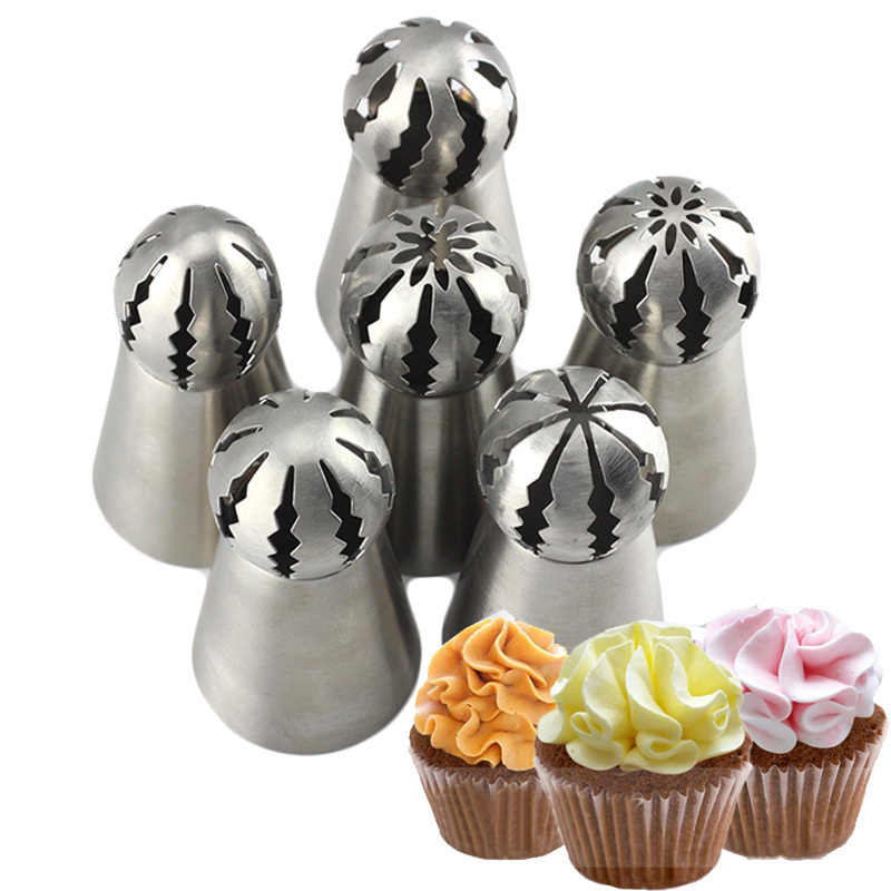 Mujiang 6Pcs Russian Spherical Ball Icing Piping Nozzles Cupcake Pastry Tips Cake Dessert Decorating Baking Confectionery Tools