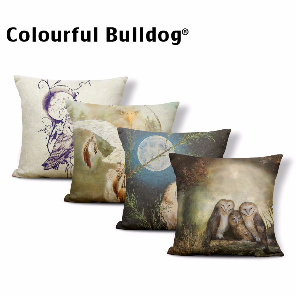 Cuteness Owl Pretty Eye Light Moon Cushion Cover Tree Branch 43*43cm Feather Geometric Striped Home Office Couch Decorate Pillow
