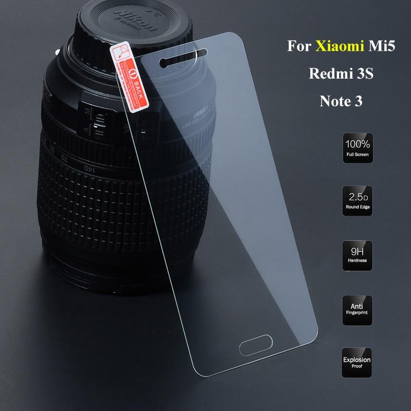 2.5D 9H Premium Screen Protector For Xiaomi Redmi 3S 3 S 3X Note 3 Pro Tempered Glass For Xiaomi Mi5 Mi 5 Phone Cover Film
