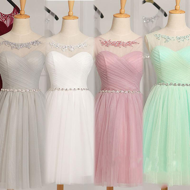 Short Bridesmaid Dresses Under 50 In Stock Mint Green White Gray Amazing Party Dress With