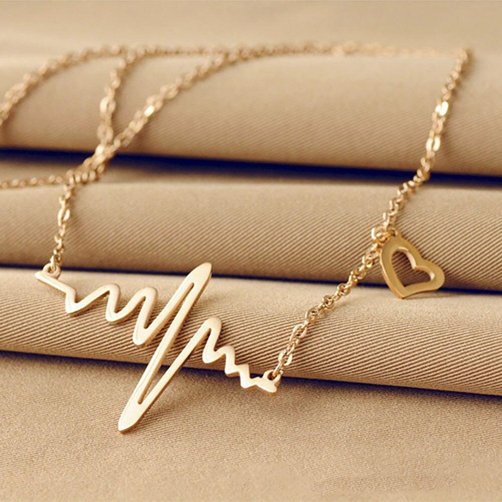 FAMSHIN 2019 caliente Simple onda corazón collar Chic ECG Heartbeat colgante de oro encanto collar relámpago para las mujeres joyería de la vendimia