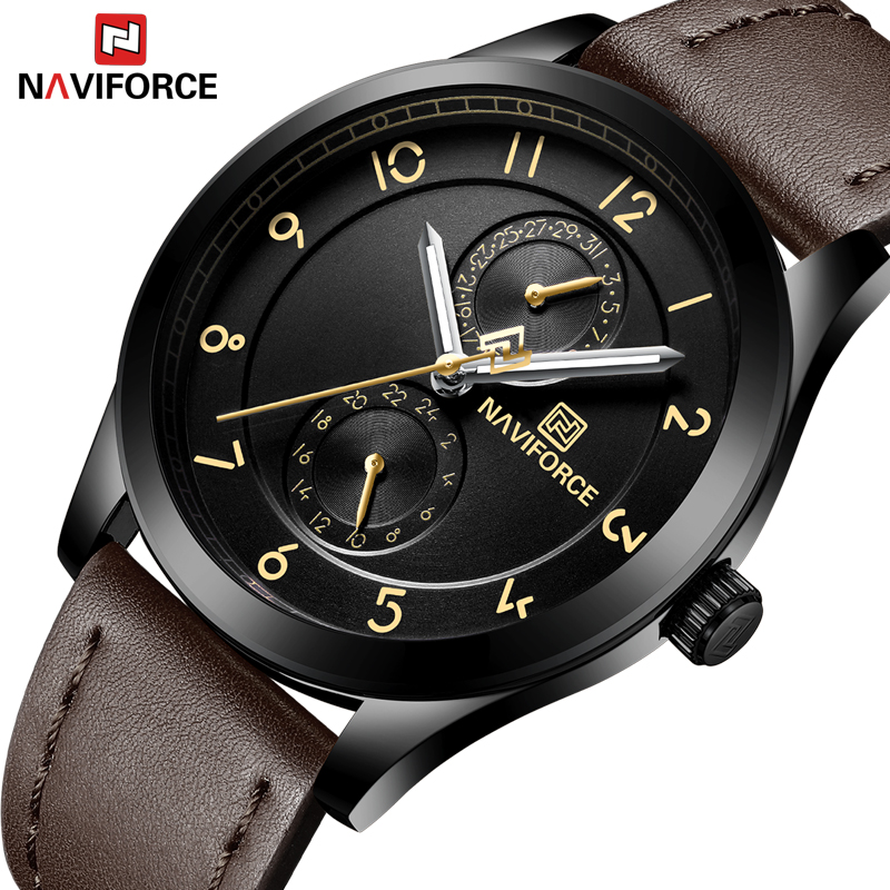New Luxury Brand NAVIFORCE Men Fashion Casual Watches Men's Quartz Clock Man Leather Strap Business Military Sports Wrist Watch kingnuos famous brand luxury watches men leather strap quartz wrist watch men s fashion casual business sports dress watch clock