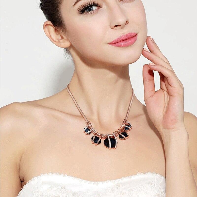 Bohemian Sapphire-Jewelry Choker Necklaces Bijoux 2016 New Arrival Luxury Beautiful Green Artificial Gemstone Necklace For Women