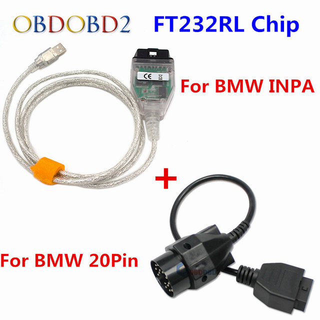 High Quality FT232RL Chip For BMW INPA K+CAN Ediabas Code Reader+For BMW 20Pin OBD2 USB Interface INPA K+DCAN For BMW Series