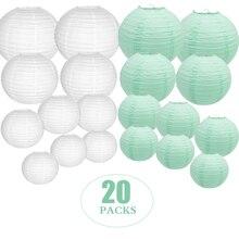 """20ชิ้น/เซ็ต6 """" 12"""" สีขาวMintสีเขียวโคมไฟกระดาษจีนLampion XmasวันเกิดBoule Papier Lampionnenบ้านตกแต่ง"""