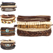 Wooden Bead Leather Bracelet