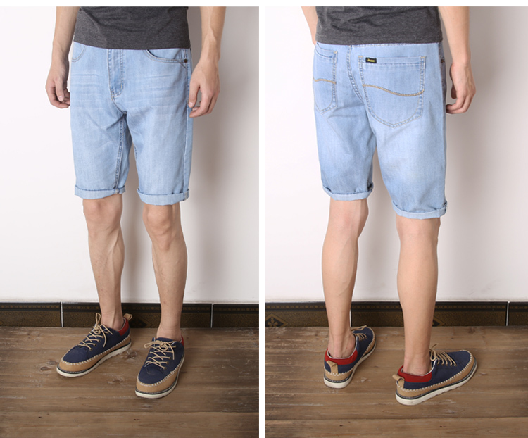 2015 New Fashion Men Jeans Roll Up Hem Straight Casual Men Knee ...