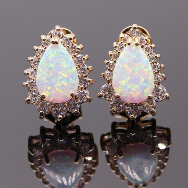 Cute Fine Jewelry White Pink Orange Fire Opal AAA Cubic Zircon Gold Plated Earrings For Women 7colors