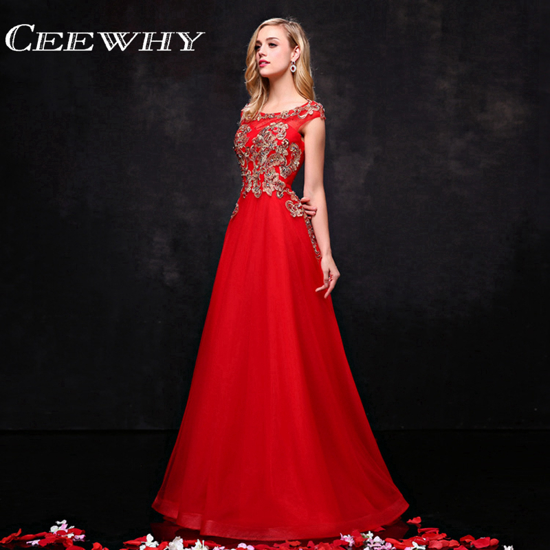 Ceewhybride Store Red Tulle Embroidery Beading Sleeveless A-Line Evening Dress Formal Gowns Floor-Length Prom  Dresses Vestido de Festa Longo 2017