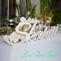 "Custom white letter Mr and Mrs LAST NAME Wedding  Wedding Sign Mr & Mrs Last Name Table Sign Wedding Decor 6"" tall"