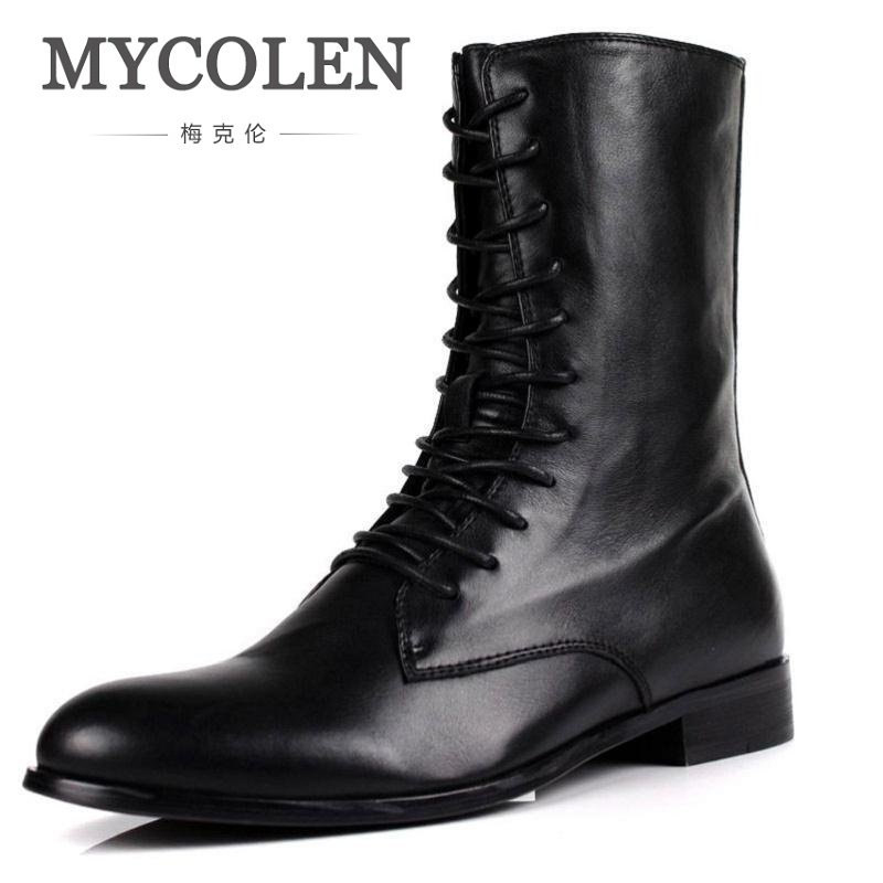 MYCOLEN Men Motorcycle Boots 2018 Autumn Designer Zipper Casual Martin Boots Male Winter High Top Genuine Leather Man Shoes mycolen 2017 fashion winter men boots british style working safety boots casual winter men shoes male black leather ankle boots