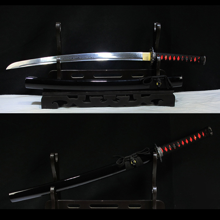Real Japanese Wakizashi Sword Folded Steel Ful Tang With Blood Groove Black Wooden Scabbard Sharp Supply