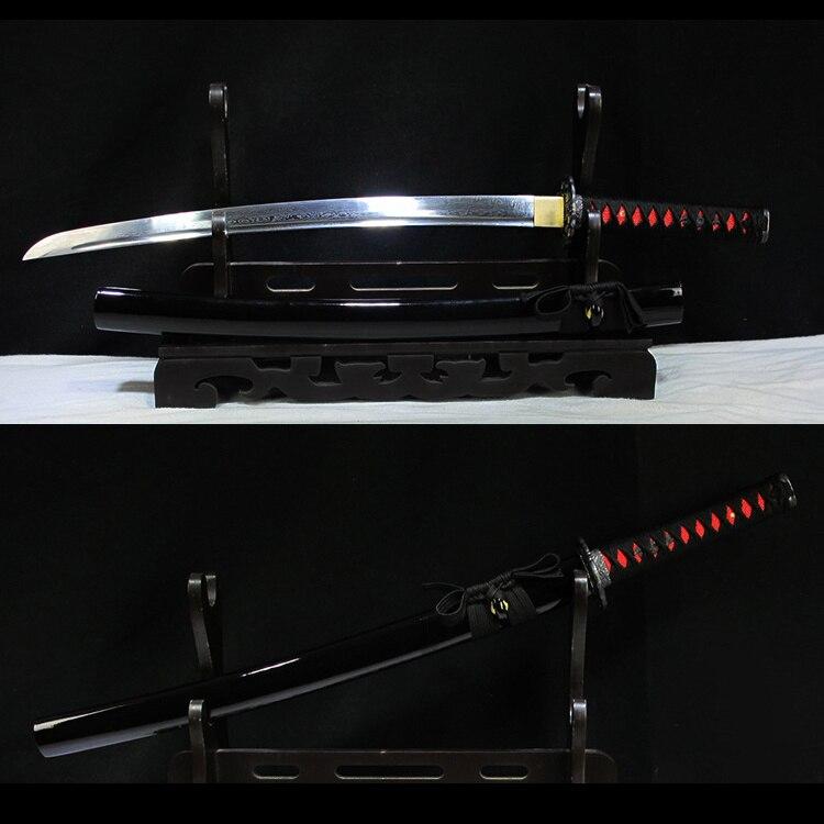 Ev ve Bahçe'ten Kılıçlar'de Gerçek Japon Wakizashi Kılıcı Katlanmış Çelik Tam Tang Kan Oluk Siyah Ahşap Kın Keskin Tedarik Dekoratif'da  Grup 1