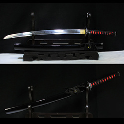 Real Japanese Wakizashi Sword Folded Steel Ful Tang With Blood Groove Black Wooden Scabbard Sharp Supply-Decorative