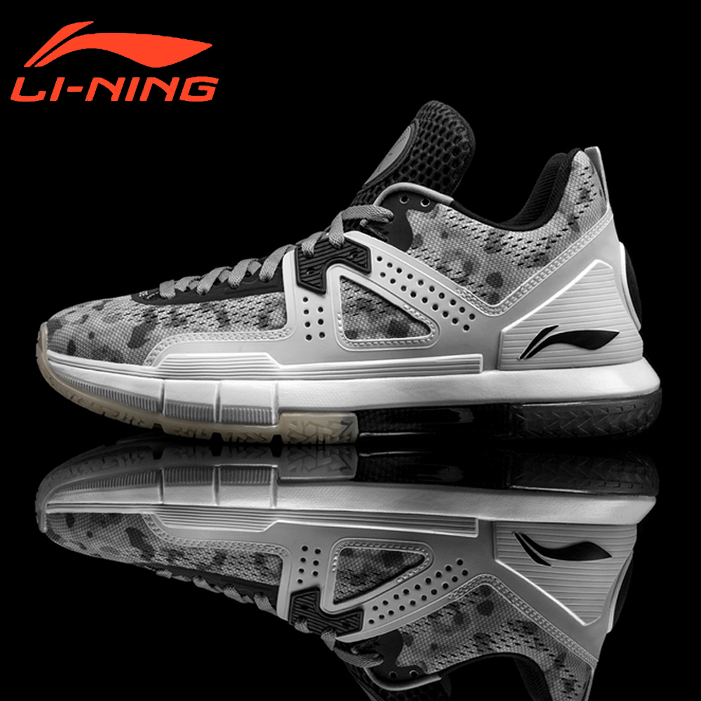 Li-Ning Brand Men Professional Basketball Shoes Sports Shoes Way of Wade 5 Grey Camo Li-Ning Bounse Cushion Sneakers ABAM057