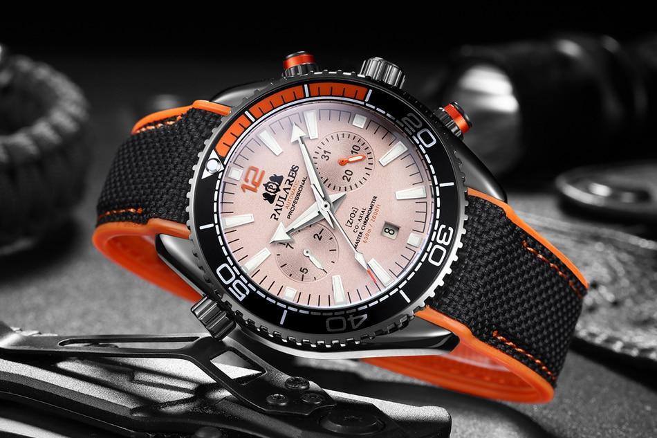 HTB1b49ddECF3KVjSZJnq6znHFXat Men Automatic Self Wind Mechanical Canvas Rubber James Bond 007 Style Orange Blue Multifunction Date Month Sport Watch