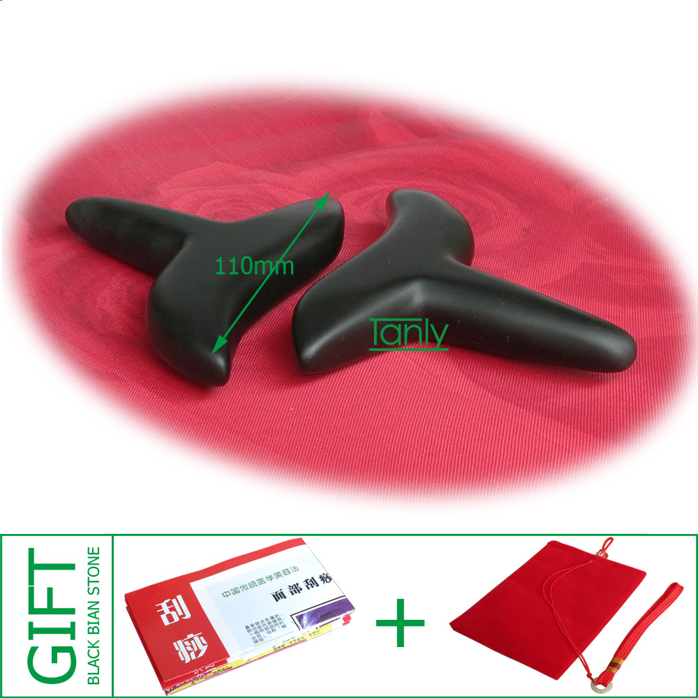 Good quality! wholesale & retail Traditional Bian Needle therapy black bian stone massage cone (110mm) good quality wholesale