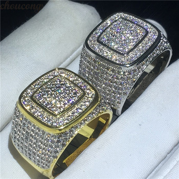 MIRSI GLAM Male  Ring 925 Sterling Silver Pave setting 274pcs AAAAA Zircon Wedding Band Rings For Men