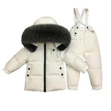 Big Fur 2pcs Down Jackets+pants Children's Clothing Sets Winter Long Snowsuit Toddler Girl Clothes 90% Duck Down Boy Winter Coat цена 2017