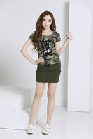 Women Summer Camouflage Two Pieces Suits 1 Round Neck T Shirt And 1 Army Skirts Casual