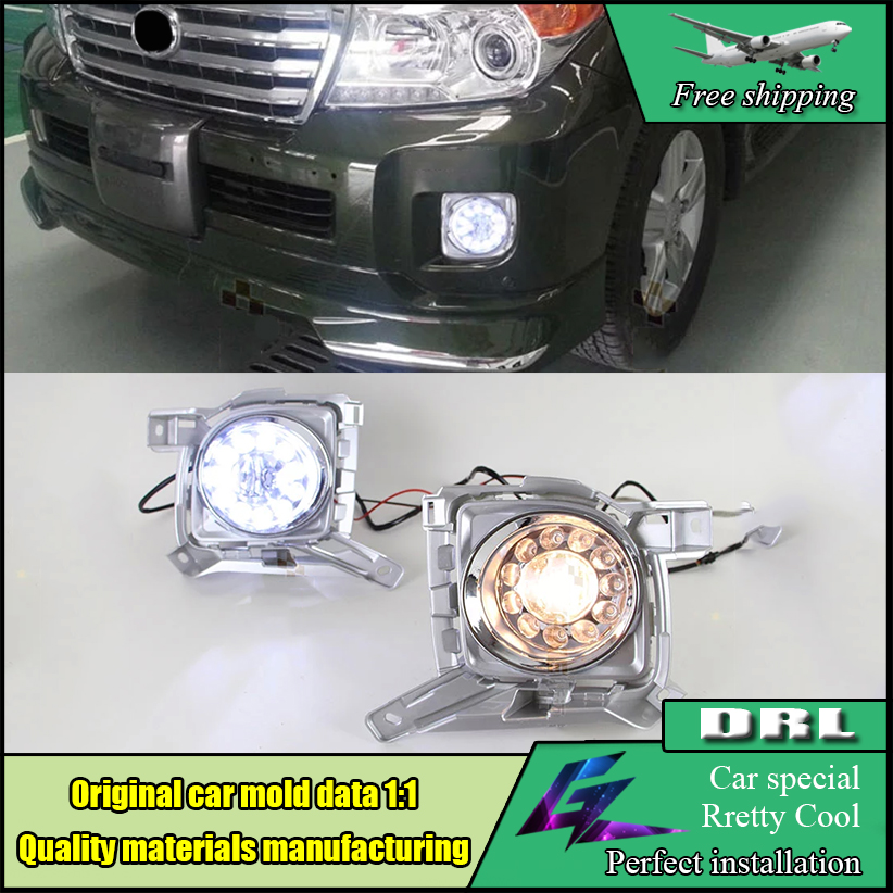Car LED Daytime Running Light For Toyota Land Cruiser FJ200 LC200 2012 2013 2014 2015 High brightness guide LED Fog Lamp for toyota fj cruiser 2007 13 double