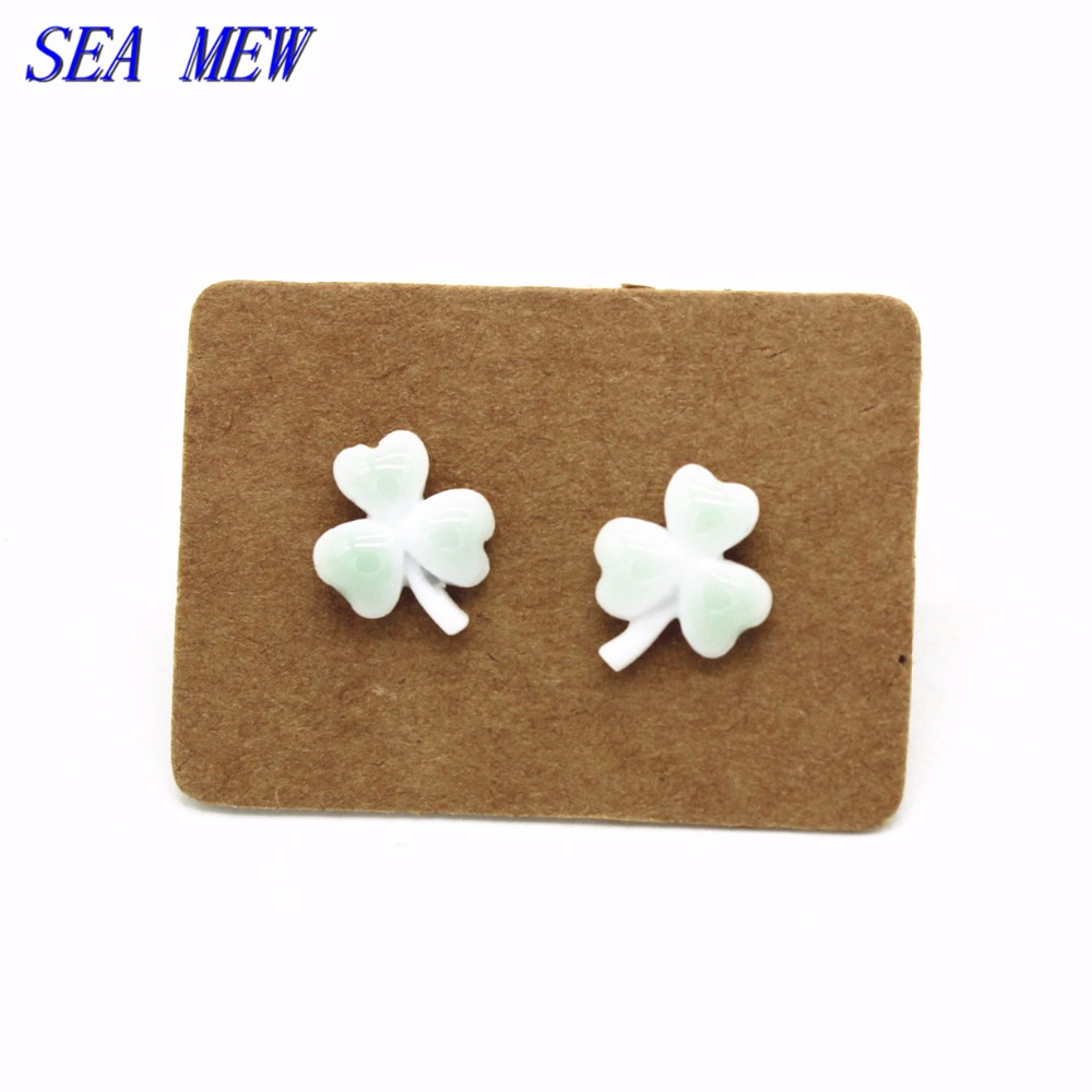 SEA MEW Fashion Lucky Clover Stud Earring Healthy Stainless Steel Needle Ceramic Earrings For Women Girl , About 10mm