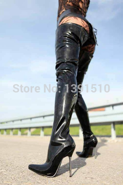New Thigh High Boots Fashion black Patent Leather sexy over knee ...