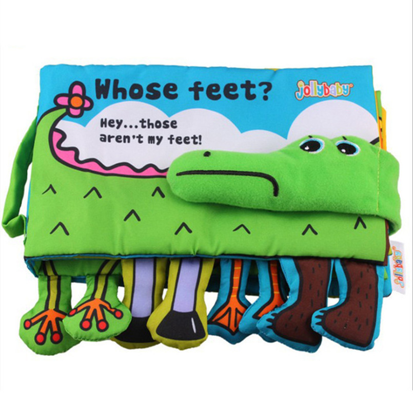 Baby Cloth Book Soft Fabric Feet Crocodile English Learning Story - Leksaker för spädbarn