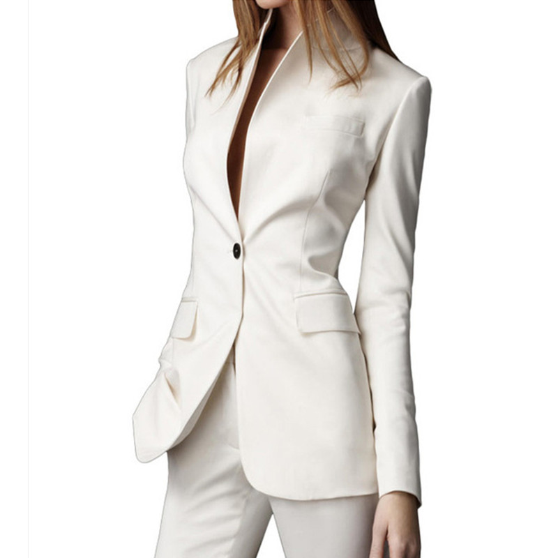 25 Autumn Custom made White Casual Female 2016 Single Button Ladies' Business Suit Office suits jacket+pants