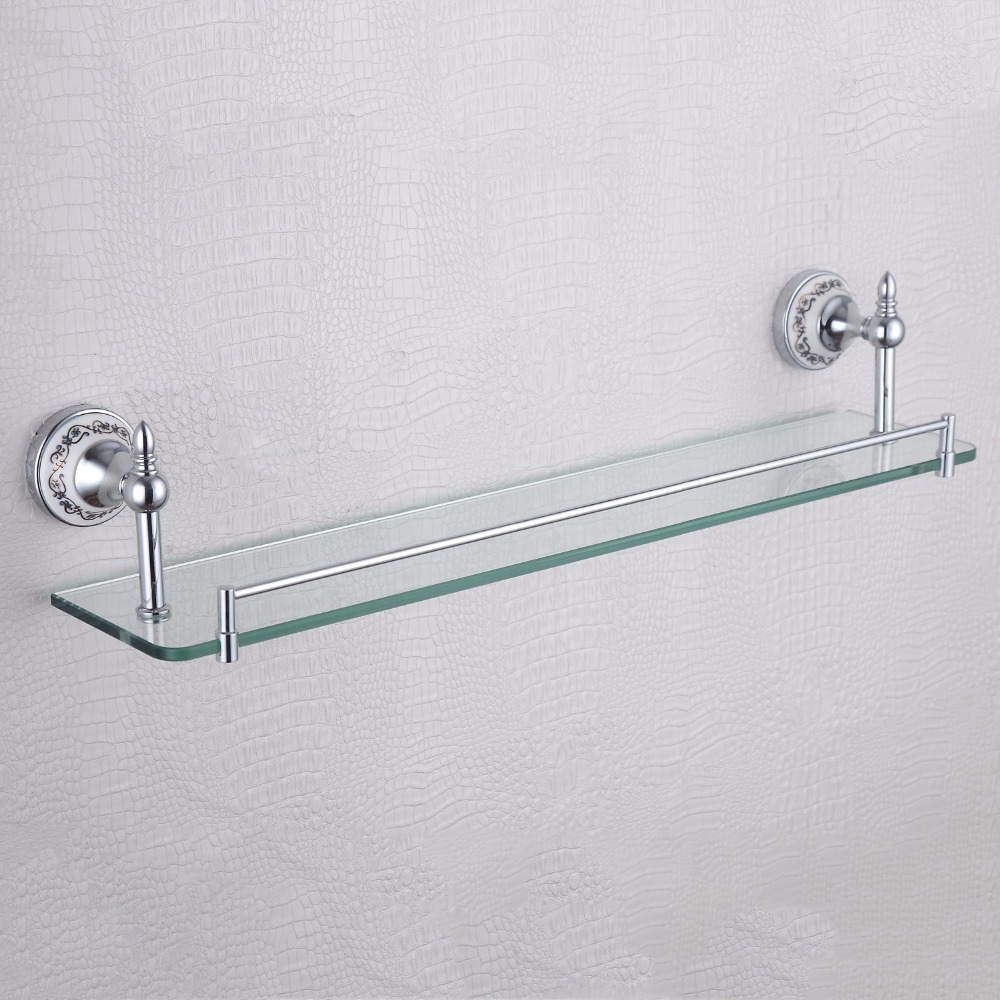 rectangle floating single glass shelf blue and white porcelain base luxury home decor bathroom shelves for shower chrome or gold
