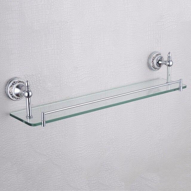 Rectangle Floating Single Gl Shelf Blue And White Porcelain Base Luxury Home Decor Bathroom Shelves For