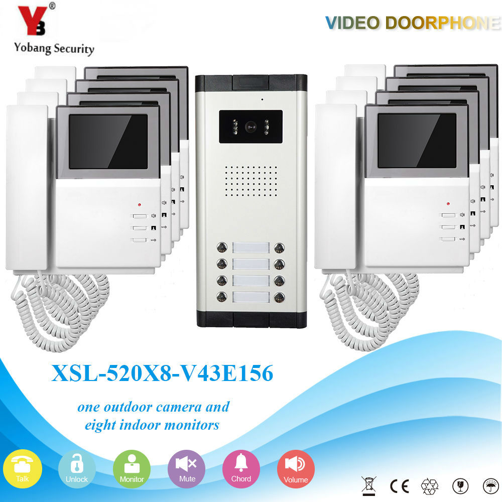 YobangSecurity 4.3 Inch Villa Video Door Phone Doorbell Intercom Entry System Kit Night Vision With Handset For 8 Unit Apartment