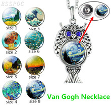 Owl Silver Necklace  Van Gogh Starry Night Glass Dome Art Painting Sunflowers Pendant Women Men Jewelry Gift