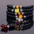 Stone108 Ubeauty 6 мм природный черный агат бисер джапа четки молитва браслет Тибетский Будда медитация мала ожерелье