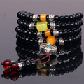 Ubeauty 6mm natural black agate stone108 beads japa rosary prayer bracelet Tibetan Buddha meditation mala necklace