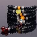 Ubeauty 6mm natural black agate stone108 beads japa rosary prayer bracelet Tibetan Buddha meditation mala necklace
