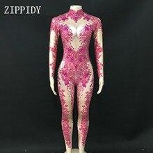 Mono brillante de piedras rosas para mujer, traje de baile elástico brillante de licra, traje de una pieza para club nocturno, mallas de fiesta
