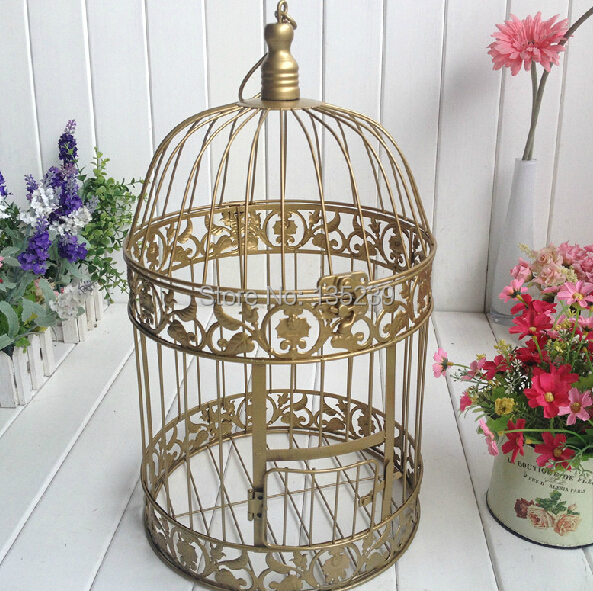 Gold Iron Birdcage Wedding Cardholders Mariage Centerpieces Manualidades for Tables Wedding Decoration Card Holder