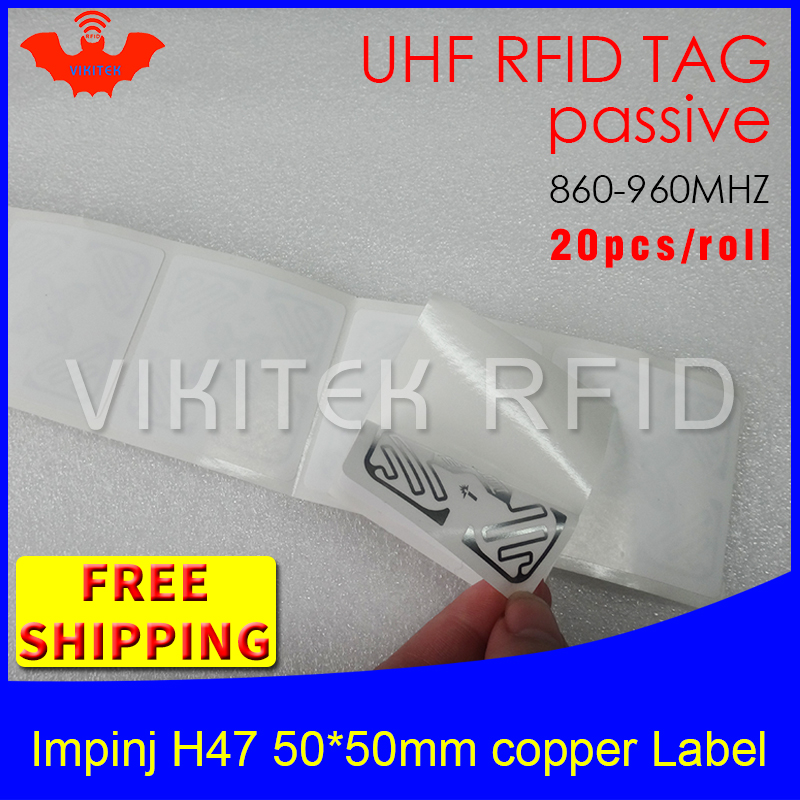UHF RFID tag sticker Impinj H47 printable copper label 915mhz868mhz Higgs3 EPC 6C 20pcs free shipping adhesive passive RFID labe cobee 10rolls single row price tag paper adhesive label sticker supermarket white