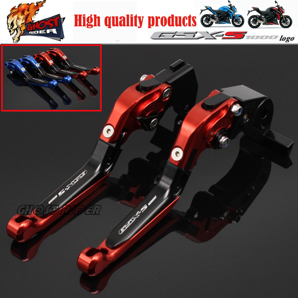 Motorcycle CNC Folding Extendable Brake Clutch Levers Logo GSX-S1000 red For SUZUKI GSX-S1000 GSX-S 1000 1000F 2015-2016 RED for suzuki gsx s1000f gsx s1000 2015 2016 motorcycle accessories short brake clutch levers logo gsx s1000 blue