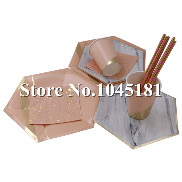 ipalmay Pink and Gold Hexagon Large Party Plates u0026 Small Marble Plates Paper Cups Confetti Dinner  sc 1 st  AliExpress.com : large disposable plates - pezcame.com